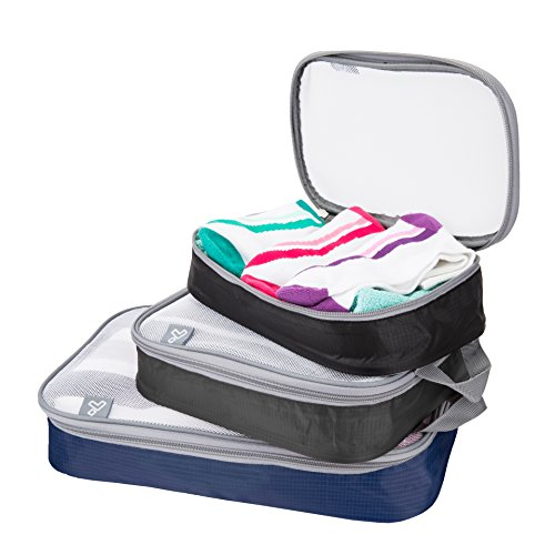 Travelon Set of 3 Lightweight Packing Organizers, Cool Tones