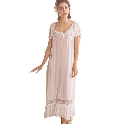 Flaydigo Ladies Long Victorian Style White Cotton Short Sleeve Nightdress/Nightgown with Plus Sizes