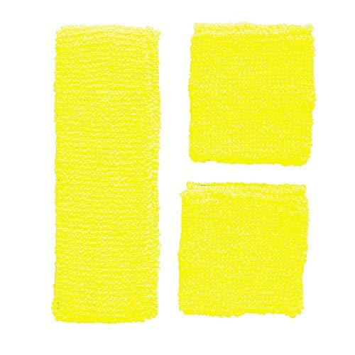Widmann 05835 - Neon Schweißbänder, Stirnband und 2 Armbänder, gelb, 80er Jahre, Kleidungszubehör, Retro Style, Sport- und Fanwelt, Disco, Motto Party, Karneval