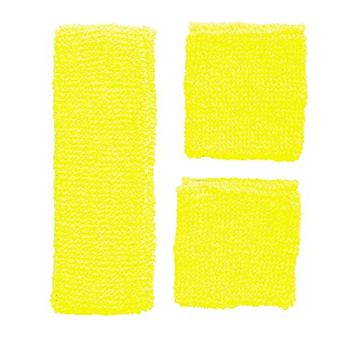 Widmann 05835 - neon zweetbanden, hoofdband en 2 armbanden, geel, jaren '80, kledingaccessoires, retrostijl, sport- en fanwelt, disco, motto party, carnaval