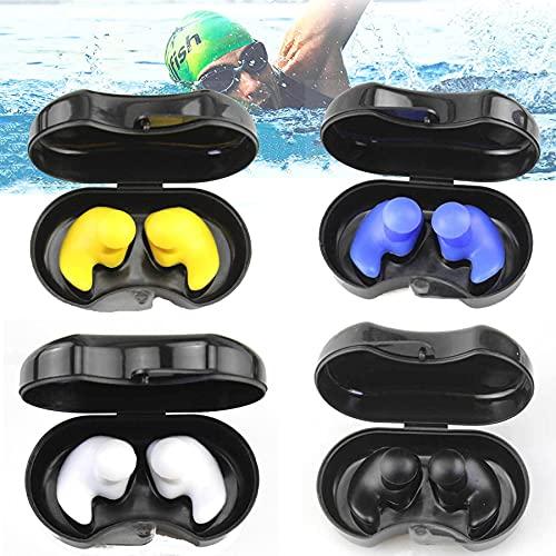 4 pares de tapones para los oídos de natación, tapones de silicona para los oídos reutilizables, reducción de ruido, tapones para los oídos, juego de tapones para los oídos (4 colores)