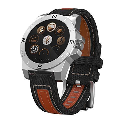 JHMAOYI - Reloj inteligente para deportes al aire libre, montañismo, equitación, pantalla redonda, esfera de acero inoxidable, reloj inteligente
