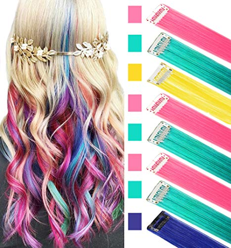 ECOCHARMS 8PCS Princess Party Highlights Clip in Colored Hair Extensions Costumes Wig for American Girls/Dolls(BPTY)