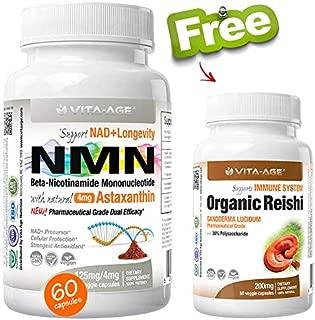 (1 x NMN 60 Capsules 125mg +1 Free Reishi) Vita-Age Certified NMN β- Nicotinamide Mononucleotide + Astaxanthin - Sirtuin Activation Anti-Aging DNA-Repair Energy+ (NAD+ Antioxidants Detox Bundle)