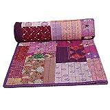Janki Creation Colcha vintage de algodón indio Khambadiya, colcha de reina de patchwork Kantha, manta cosida a mano