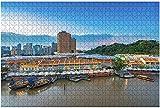 500 piezas-Singapur Singapur 18 de septiembre de 2016 Edificio de luz colorida en rompecabezas de madera Rompecabezas educativos para niños de bricolaje Regalo de descompresión para adultos Juegos cr