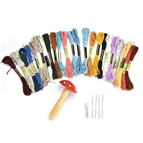 GIRAFEDA Kit de Costura(39 Piezas) Seta de Madera Hongos de Madera Mushroom para Reparar los Calcetines Desgastados o para Mañualidades + 24 Madejas de Hilo, 13 Aguja, 1 Botella de Agujas