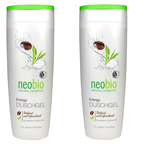 neobio Energy Duschgel Bio-Koffein & Grüner Tee, belebend und erfrischend, 2 x 250ml