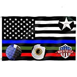 Embroidered Stars Thin Red Blue Green Line American Flag 3x5- Vivid Colors 240D Blue Stripe Police Cop US Flags Banners Outdoor- Thin Red Line Firemen USA Flag with 2 Brass Grommets
