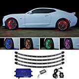 LEDGlow 4pc Million Color LED Wheel Well Fender Accent Neon Lighting Kit for Cars & Trucks - 18 Solid Colors - 24' Multi-Color Flexible Tubes - Water Resistant - Includes Control Box & Wireless Remote