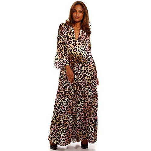 YC Fashion & Style Damen Boho Maxikleid Strandkleid Freizeit Sommer Party Kleid Hippie Kleid Plus Size Made in Italy (One Size, Mehrfarbig/ Model1)