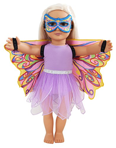 Dreamy Dress-Ups 71234 Doll 4-PC playset, Fairy Rainbow, regenboogfee, poppenkleding set 4-delig voor 18