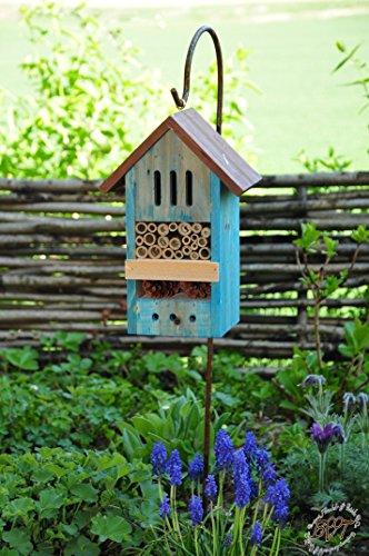 Nistkästen blau hellblau als Insektenhotel mit Metallstiel/Schäferstab 1,25 m Höhe robust, BD-MMS Insekten Florfliegen Marienkäferhaus
