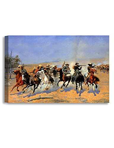 DECORARTS -A Dash for The Timber, Frederic Remington Classic Art Reproductions. Giclee Canvas Prints Wall Art for Home Decor 36x24 x1.5