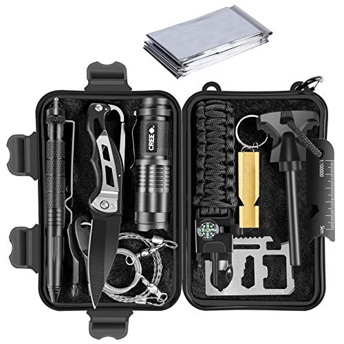 LEVORY J Portable Emergency Survival Kit, 12 in 1 Survival Gear, Amazing Gifts for Men Husband dad Father boy Friend,Tactical Defense Equitment,Outdoor Camping Tool…
