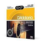D'Addario EXP14 Cordes en bronze pour guitare acoustique avec revêtement 80/20 Light Top/Bas moyen/Bluegrass 12-56