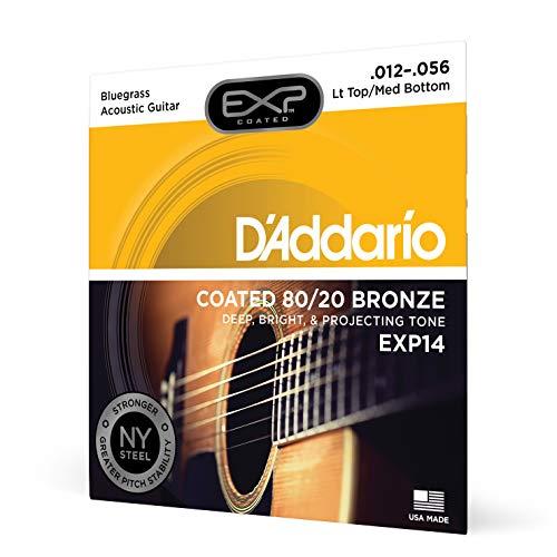 D'Addario EXP14, cuerdas recubiertas para guitarra acústica, bronce 80/20, superiores blandas/inferiores de tensión media/Bluegrass, 12-56