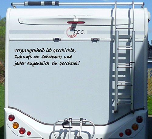 WERBEPUNKT. Aufkleber Vergangenheit ist Geschichte Wohnmobil Wohnwagen Camping Caravan Auto - 55 cm/Schwarz