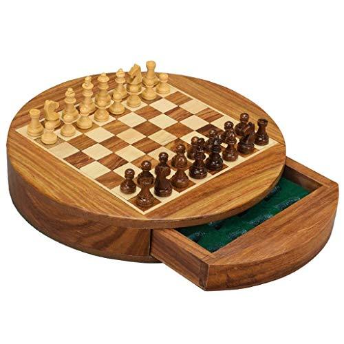 Juego de ajedrez de Madera para niños y Adultos - Juegos de Tablero de ajedrez Plegables Grandes Redondos magnéticos - Almacenamiento de Piezas (Ejercicio de Pensamiento Intelectual)