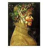 Cuadro Sobre Lienzo,Pintor Italiano Arcimboldo Mujer Joven Con Frutas Verduras, Pintura De Lienzo Decorativo Pared Arte Retrato De Imagen En Lienzo, Para Casa Sala De Decoración De La Ventana, Divis