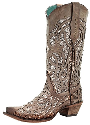 Corral Women's Luminary Glitter Inlay Studs Snip Toe Leather Cowgirl Boots - Orix (6 B(M) US, Brown)