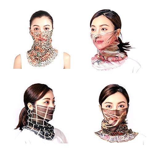 4 Stück Sonnenschutz Gesichtsschal,Atmungsaktiver Seidenhals,Frauen Atmungsaktiv Sonnenschutzmaske Halstuch Nickituch für Turban Outdoor Aktivitäten Gesicht und Hals (B)