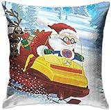 GFGKKGJFD507 Santa Claus Astride Fundas de cojín Decorativas para motonieve, 18 x 18 Pulgadas, para niños, decoración de Granja