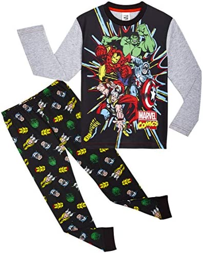 Marvel Avengers Pijama Niño, Pijamas Niños de Los Vengadores Superheroes Capitan America, Hulk, Iron Man y Thor, Conjunto de Dos Piezas Manga Larga, ...