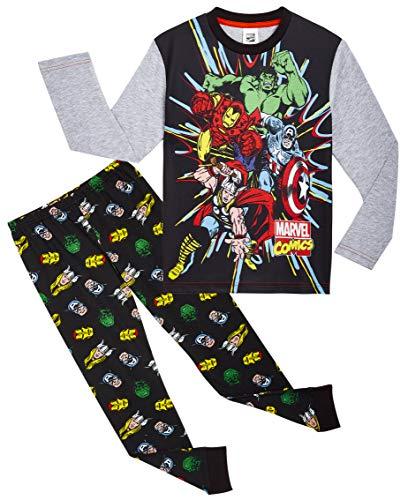 Marvel Avengers Pijama Niño, Pijamas Niños de Los Vengadores Superheroes Capitan America, Hulk, Iron Man y Thor, Conjunto de Dos Piezas Manga Larga, Regalos para Niños y Adolescentes
