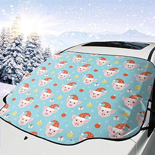 Pig Pink Christmas Kawaii Blue Themed Pattern Front Windows Cover Windshield Sun Shade Car Decor