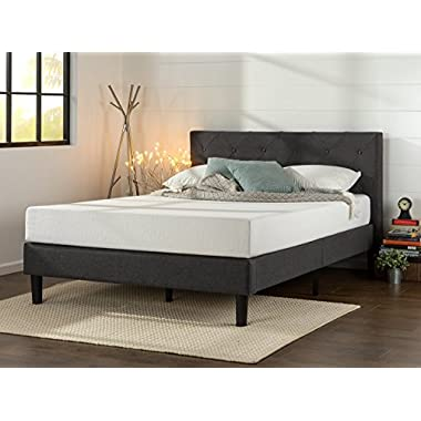 Zinus Upholstered Diamond Stitched Platform Bed in Dark Grey, Queen