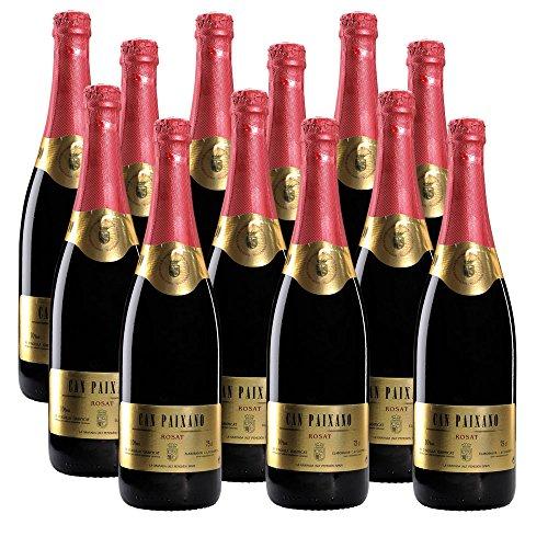 ROSAT Can Paixano | Der Kult-Sekt aus der In-Bar La Xampanyeria in Barcelona | Rosé-Sekt halbtrocken | Weinpaket mit 12 Flaschen