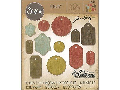 Sizzix Thinlits–Juego de Troqueles, 12Unidades–Etiquetas de Regalo por Tim Holtz, Multicolor
