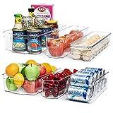 Vtopmart Refrigerator Organizer Bins, 6pcs Clear Plastic Fridge Organizer, BPA Free Refridge bins for Freezer, Cabinet, Cupboard, Countertops, Kitchen Pantry Organization and Storage