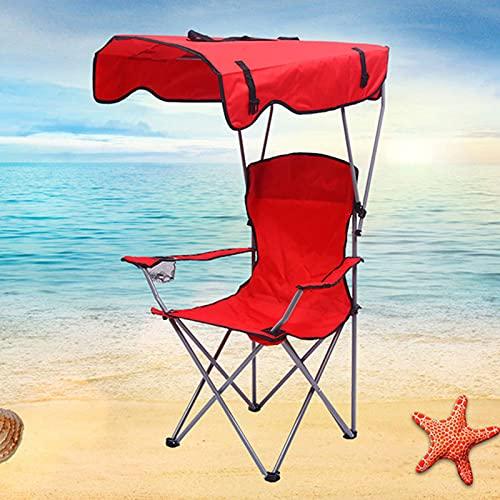 Silla Camping con Pabellón, Silla Pesca Carpfishing Portatil Plegable Ligera para Playa Exterior Jardín, Protección Solar y Lluvia, Carga hasta 120 kg(Color:Rojo)