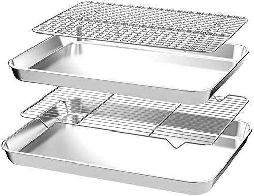 CEKEE Nonstick Steel Bakeware Set with Cooling Rack,4 PCS (2 Pans+2 Racks)Quarter Sheet Baking Pan and Cookie Tray, Non Toxic & Heavy Duty & Easy Clean, Size 9 x 7 x 1 Inch