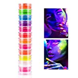 Polvere di pigmento per Unghie, Smalto Glitterato con Colori al Neon Fosforescente Fluorescente Polvere Bagliore nel Buio, Vernice luminescente per Il Corpo ombretto