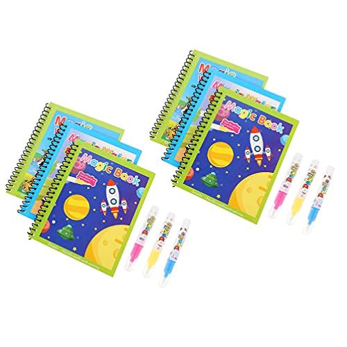 POPETPOP 6 Unidades de Libros para Colorear Agua Reutilizables Libros para Agua Juguetes Educativos Creativos para Dibujar Regalo de Cumpleaños para Niñas Y Niños