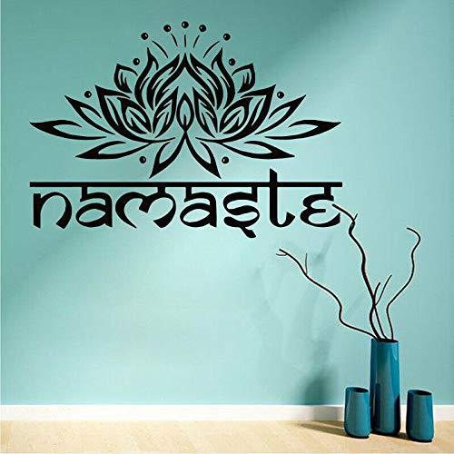 wZUN Etiqueta engomada de la Pared del Loto de Yoga Etiqueta engomada del Vinilo decoración del Gimnasio Mandala Buda símbolo Cita Papel Tapiz extraíble 63X84cm