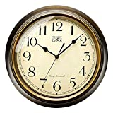 Plumeet Large Retro Wall Clock - 13'' Non Ticking Classic Silent Clocks Decorative Kitchen Living Room Bedroom - Battery Operated (Arabic Numerals)