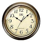 Plumeet Reloj de Pared Retro - Reloj Silencioso Clásico sin Tic-TAC de 25 cm - Adecuado para Decorar Sala, Dormitorio, Oficina - Alimentado por Batería (Numerales arábigos)