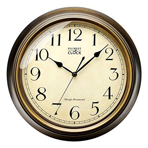 Plumeet Wanduhr Groß Klassisch 25 cm Ruhige Retro Wanduhr ohne Tickgeräusche für Wohnzimmer - Schlafzimmer - Batteriebetrieben (Arabische Ziffern)