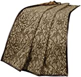 HiEnd Accents Highland Lodge Branches Motif Throw Blanket, Faux Leather Frame, 50 x 60, Tan & Brown