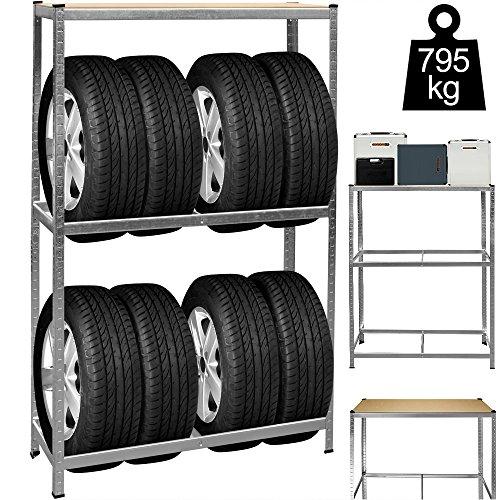 Deuba Reifenregal 8 Reifen 795 kg 180x120x40cm inkl. Gummischutz höhenverstellbar MDF Ablage Lagerregal Schwerlastregal
