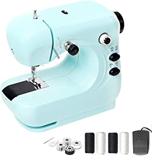 Beletops Portable Sewing Machine, Mini Electric Household Sewing Machine Lightweight Sewing Machine, Double Thread, Night Light, Foot Pedal and Free Arm, Perfect for Sewing All Types of Fabrics -Blue