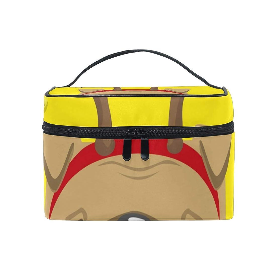 コインランドリーデッキプレビューメイクボックス パグの鹿柄 化粧ポーチ 化粧品 化粧道具 小物入れ メイクブラシバッグ 大容量 旅行用 収納ケース