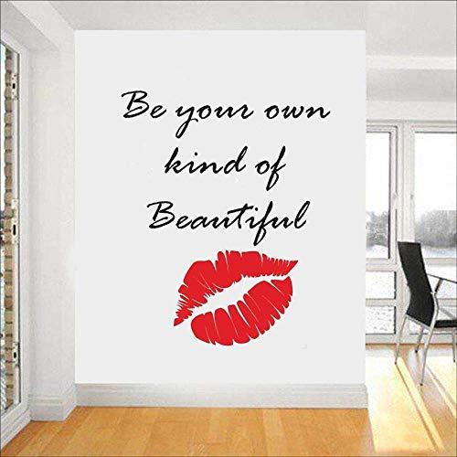 Maquillage Citation Stickers Muraux Lèvres Décor Rouge À Lèvres Mascara Decal Salon De Beauté Cosmétiques Maquillage Artiste Chambre Décor 42X52 Cm