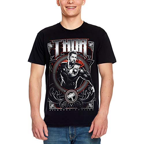Camiseta Avengers para Hombre Thor Endgame Marvel Algodón Negro - M