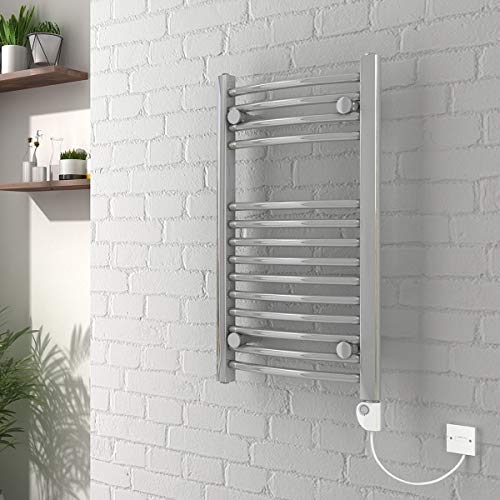 WarmeHaus Bathroom Electric Heated Towel Rail 700 x 400 Curved Thermostatic 150W Chrome