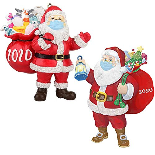 2020 Christmas Ornaments 2PCS, Christmas Ornament Santa with Face Bandana Christmas Holiday Decorations Pendant Keepsake Tree Decoration Unique Luxury Creative Gift for Christmas tree (2PCS)